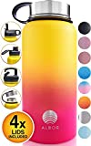 ALBOR Insulated Water Bottle with Straw 32 Oz Water Bottle Stainless Steel Water Bottle with Straw Metal Water Bottle with Straw Water Flask Water Bottle Insulated Water Bottle Ombre - Yellow - Peach