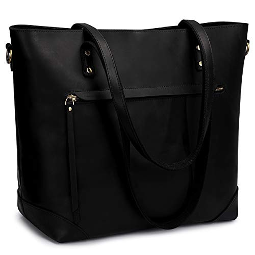 41s3mPDM8SL ROOMY CAPACITY: External dimension is about 17.72inch(Max Length)/ 12.8inch(Bottom Length) x 6.31inch(W)x 12.6inch(H); Weight: 2.38L. Please note that this bag is a little heavier than other nylon or canvas bags since it is made of 100% genuine leather and all the hardwares have been reinforced. Please confirm before order DURABLE MATERIAL: Premium Grade Crazy Horse Leather (Top Grain Leather with vintage effect), BRONZE Metal hardware, REINFORCED stitching at Top handles with braided tape for not breaking easily, lessen the pressure a leather tote bag can bring to your shoulders MULTICOMPARTMENT: Top zipper closure. 1 outside zipper pocket (with leather flap cover; A BRAIDED TAPE in the back zipper pocket for SUITCASES, humanization design for your trip); Interior: 1 side zipper pocket; 2 side holders; 1 central zipper pocket; 1 laptop compartment(with thick foam pad and sticking band), well organizing your laptop( fits up to 16-inch MacBook Pro, other 14-inch laptop) and other necessities when out for work, travel or go to school