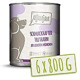 MjAMjAM - Premium Nassfutter für Hunde - schmackhafter Truthahn an leckeren Möhrchen, 6er Pack (6 x 800 g), getreidefrei mit extra viel Fleisch