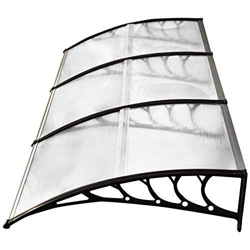 Outsunny Tejadillo de Protección contra Sol y Lluvia para Puertas Ventanas Marquesina de Techo Diseño Moderno Aleación de Aluminio Duradero 295x90x25 cm Transparente
