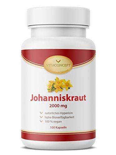 Johanniskraut | Der VERGLEICHSSIEGER* | inklusive natürlichem Hypericin | 100 vegetarische Johanniskraut Kapseln hochdosiert | made in Germany | VITACONCEPT (Johanniskraut)