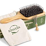 Boar Bristle Hair Brush Men Detangling Hair Brushes for Women Mens Paddle Brush Bamboo Wooden Bore Natural Hairbrush for Shine Soft Fine Hair Reduce Frizz Dry Improve Hair Texture