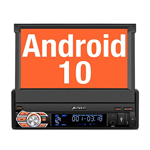 PUMPKIN Android 10 Single Din Car Stereo with GPS, WiFi, Built-in DSP, Support Backup Camera, Android Auto, SD/USB, 7 Inch Flip Out Touch Screen