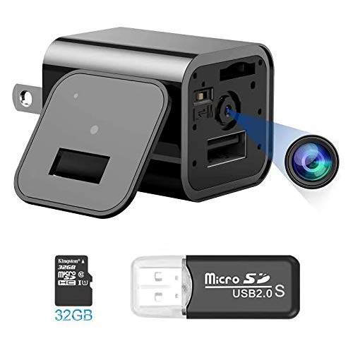 Hidden Camera Charger, Mini Spy Camera with 32GB SD Card ,Nanny Camera with Motion Detection ,Full HD 1080p,Yesdoes Covert Security Camera, Non WiFi Surveillance Camera for Indoor Outdoor