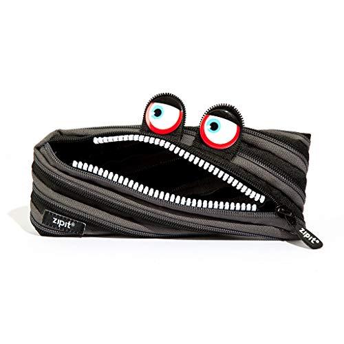 ZIPIT Wildlings - Astuccio per bambini fino a 30 penne, lavabile in lavatrice, realizzato con una cerniera lunga (nero)