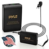 Wireless Clip Lavalier Microphone System - Portable Professional Clip Lav lapel Mic set with Volume Control, 20 ft range - Transmitter, Receiver, Battery - For Camera, Sound Recorder - Pyle PDWM96, Black