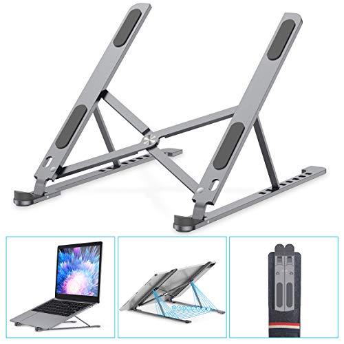 HAPAW Laptop Ständer, 8-Stufe Höhenverstellbar Notebook Computer Ständer Tragbarer Faltbar Aluminium Laptop Stand Halterung Kompatibel mit Alle Laptops Tablet, MacBook, iPAD, Dell, HP, Huawei, Phones