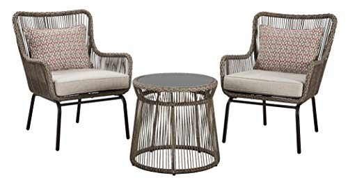Signature Design by Ashley P308-050 Cotton Road Chairs w/CUSH/Table Set (3/CN), Brown