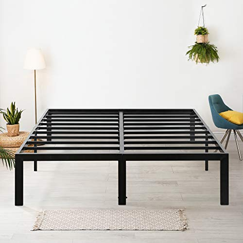 Olee Sleep 18' Heavy Duty King Steel Slat, No Box Spring Needed, Black