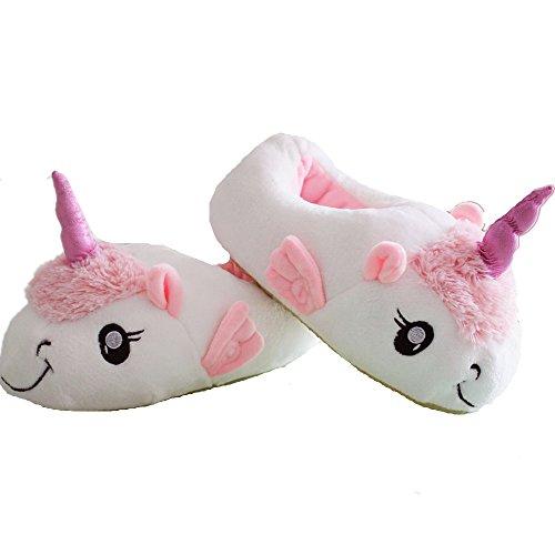 VineCrown Zapatillas de Felpa Unicornio Zapatos Peluche Zapatillas de estar Por casa Para Adulto, Talla Europea: 36-41 (Blanco)