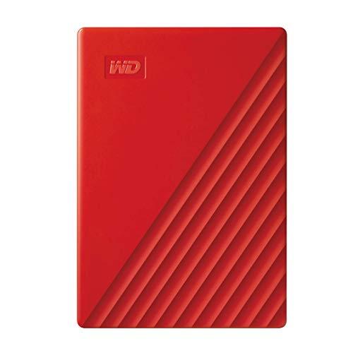 Western Digital WD My Passport externe Festplatte 2 TB (mobiler Speicher, schlankes Design, WD Discovery Software, automatische Backups, Passwortschutz) Rot - auch kompatibel mit PC, Xbox und PS4