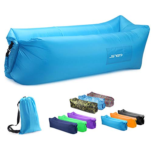 JSVER Inflatable Lounger Air Sofa with Portable Package for Travelling, Camping, Hiking, Beach Parties, Blue