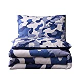 Holawakaka Queen Size Camouflage Comforter Set, Boys Girls Men Camo Quilted Bedding Sets Neutral Farmhouse Lodge Cabin Army Bedspread (Blue, Queen)