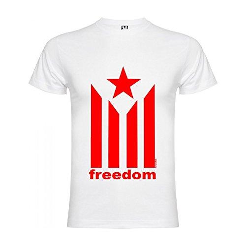 Camiseta Catalunya Estelada Freedom Manga Corta Hombre Blanco 2XL