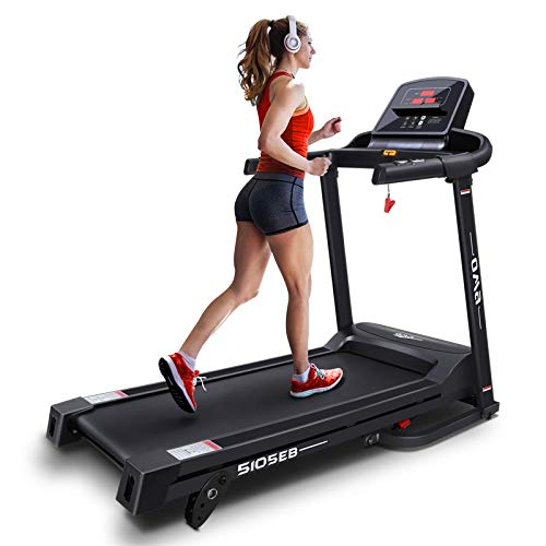 OMA Home Treadmills, Max 2.25 HP Folding Incline Treadmills for Running and Walking Exercise with LED Display of Tracking Heart Rate, Calories - Black 1