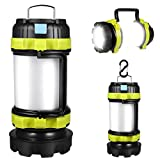 LED Camping Lantern, Rechargeable Portable Lantern Flashlight, 6 Modes, 3600mAh Power Bank, Two Way Hook of Hanging, Perfect for Hurricane, Emergency Light, Outdoor Recreations, USB Cable Included