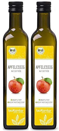 Apfelessig naturtrüb BIO 1000ml (2x 500ml) I rein, unverarbeitet, unpasteurisiert I Apfelessig ungefiltert mit Essigmutter von bioKontor