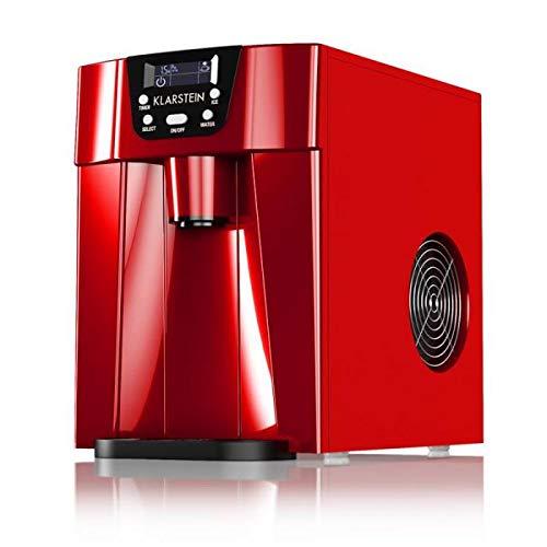 Klarstein Ice Volcano 2G - Macchina per Ghiaccio, Serbatoio: 2L, Ghiaccio in 6-12 min, Cubetti in 2 Misure, Fino a 12kg/24h, Capacit: 0,6 kg, Display LCD LED, Timer, Rosso