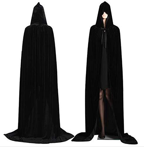 CHSYOO Manto con Capucha Negro Capa Larga con Capucha para Disfraces de Halloween Fiesta Bruja Vampiro Vampiro Cosplay Disfraces