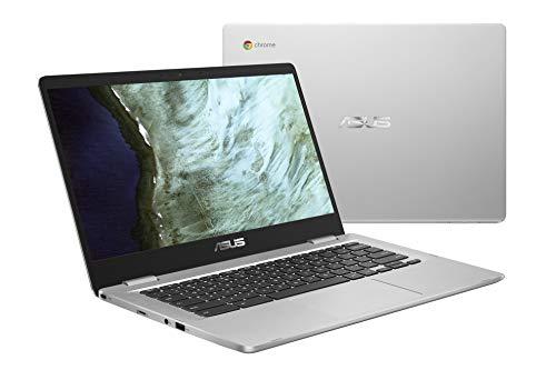 ASUS Chromebook Laptop- 14.0' HD 180 Degree NanoEdge Display, Intel Dual Core Celeron N3350 Processor, 4GB RAM, 32GB eMMC Storage, USB Type-A and Type-C, Chrome OS- C423NA-DH02 Silver