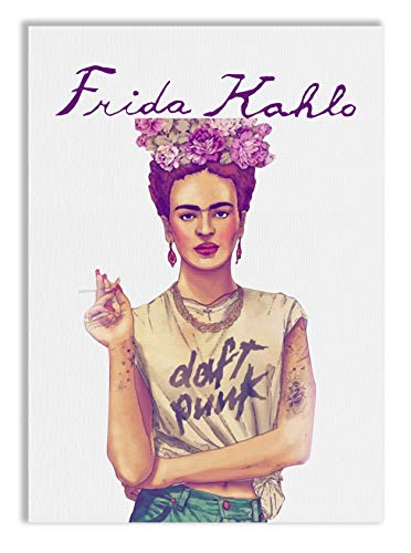 REITANO GROUP Imprimir en Lienzo Cuadro sobre 50x70cm Pintura Tema Frida Kahlo Feminismo revolución Marco de Madera Made in Italy CASA Muebles Tienda T114