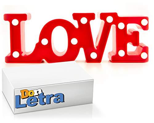 DON LETRA Love con Luces LED, Color Rojo, Lámpara Decorativa para Hogar, Iluminación Decorativa con Luces LED, Z-11