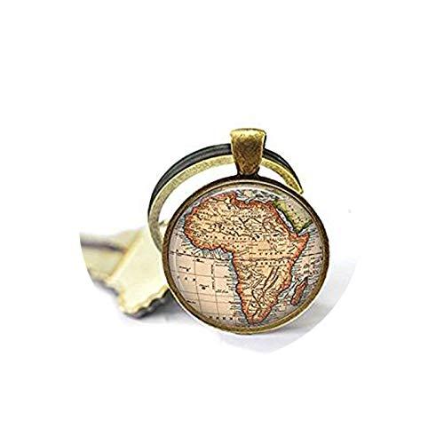 qws Africa Vintage Map Jewelry - Cadeau pour voyageur - Bijoux Carte...