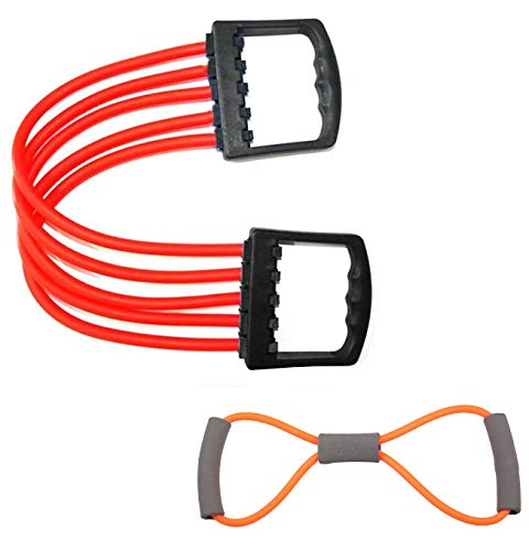 Bolditech Adjustable Multi-Function 5 Rubber Tubes Chest Expander with Resistance Exercise Bands Yoga Gym Fitness Pulling Rope 8 Word Elastic for Exercise Muscle Training Tubing Pull Rope