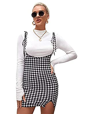 Features: Spaghetti Strap, Sleeveless, Plaid Pattern, Adjustable Strap, Above Knee Length, Overall Skirt Fabric has Slight Stretch Model Measurements: Height: 68.9 inch, Bust: 35.4 inch, Waist: 24 inch, Hips: 35.4 inch. Wear: S Perfect for match with...