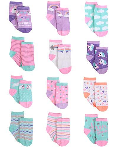 Rising Star Color clasificado Diseños 12 Par calcetines Conjunto 0-6 Meses Diseño de la colección del unicornio
