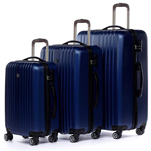 FERGÉ Kofferset Hartschale 3-teilig erweiterbar Toulouse Trolley-Set mit Handgepäck 3er Set Hartschalenkoffer Roll-Koffer Reise-Trolley mit 4 Rollen ABS blau