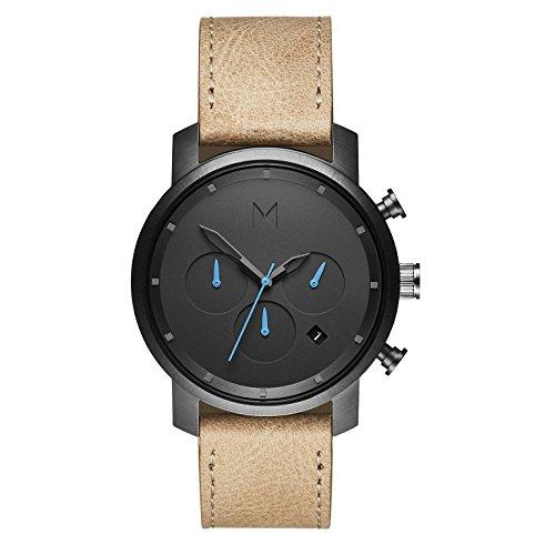 MVMT Herren Chronograph Quarz Armbanduhr mit Lederarmband D-MC02-GML