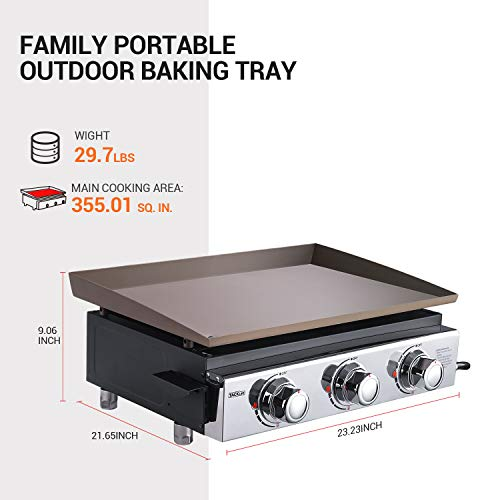 Product Image 2: TACKLIFE Portable Propane Gas Grill, 23 in Tabletop Griddle with 3 Burners, Stainless Steel Ideal for Outdoor Cooking, Camping, Tailgating or Picnicking