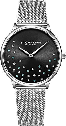 Stuhrling Original Damenuhr Krystal Analog Watch Dial, Edelstahlgewebe Armband 3928 Uhren für Damen Kollektion (Black)