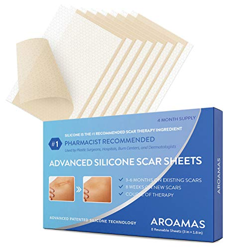 Aroamas Professional Silicone Scar Sheets, Soften and Flattens Scars Resulting from Surgery, Injury, Burns, Acne, C-section and more, Soft Silicone Scar Strips, 3'1.57', 8 Sheets (4 Month Supply)
