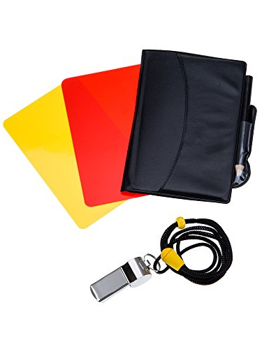 Mudder Kit de Tarjetas de Árbitro de Deportes Tarjeta Roja Tarjeta Amarilla con Tarjetero y Silbato de Árbitro de Meta Silbato de Entrenador para Fútbol