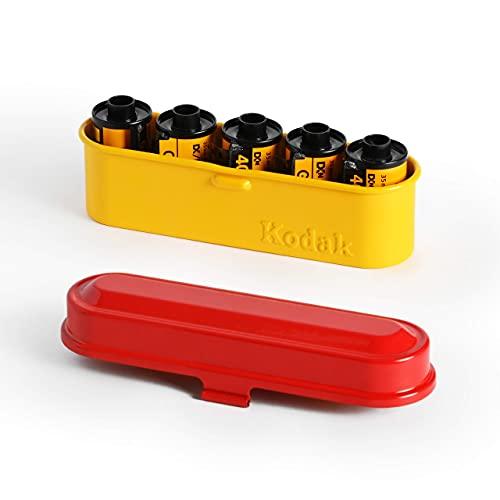 KODAK フィルムケース - 35mmフィルム5ロール用 - コンパクトレトロスチールケース フィルムロールの分類と保護用 (レッドトップ/イエローボディ)