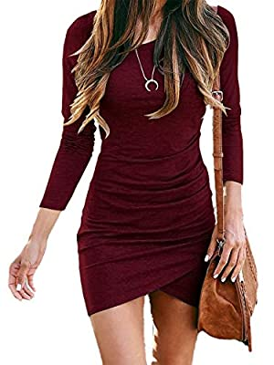 * Fashion Design - Womens Long Sleeve Dress , Casual Ruched Dress , Ruched , Front Drawstring , Crew Neck , Long Sleeve , Bodycon , Slim Fit , Solid Color , Short-Length , Short-Dress , for Ladies , for Spring / Fall / Winter , Fashion , Modern , Uni...