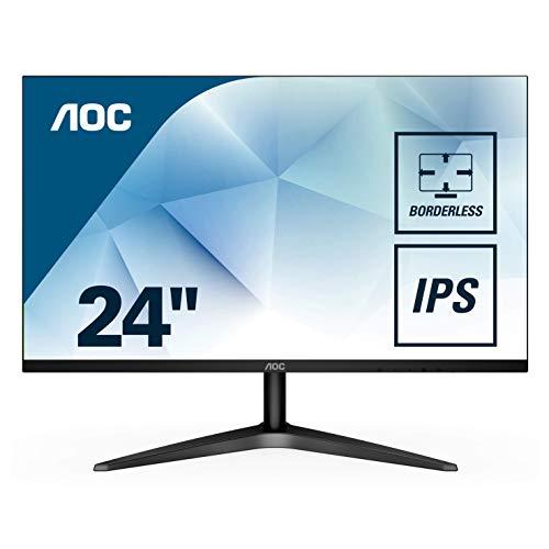 AOC 24B1XHS Monitor LED da 23.8', Pannello IPS, FHD, 1920 x 1080, VESA 75 x 75, VGA, HDMI, Senza Bordi, Nero