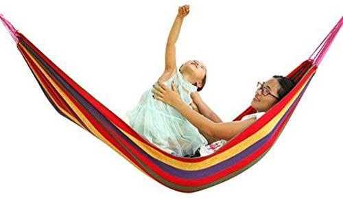 Niyam Portable Durable Garden Hammocks Striped Ultralight Outdoor Beach Swing Bed with Strong Rope,Swing for Garden & Sports for One Person (Multi Color,280X80cm)
