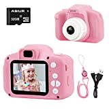 ASIUR Camera for Kids,1080P FHD Digital Video Children Camcorder - 2.0' IPS Screen Rechargable Toy Cameras Recorder for Girls,Pink