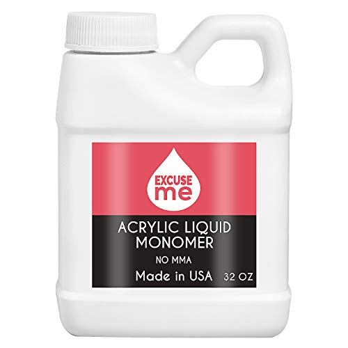 Excuse Me Professional Acrylic Liquid Monomer MMA Free USA Made Strong Nails and Non Yellowing 32 oz for Nail Art Powder for Nail Extension