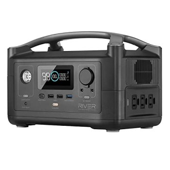 EF ECOFLOW Portable Power Station RIVER, 288Wh Backup Lithium Battery with 3 600W (Peak 1200W) AC Outlets & LED Flashlight, Clean & Silent Solar Generator for Outdoor Camping RV Emergencies Home