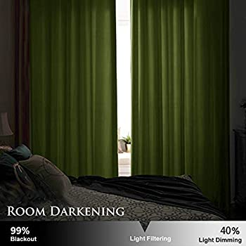 Stangh Olive Green Velvet Curtains For Living Room Blackout Grommet Window Curtains Heat Insulated Privacy Panels For Bedroom Kids Room Olive Green 52 Inch Width By 84 Inch Length 2 Panels Buy