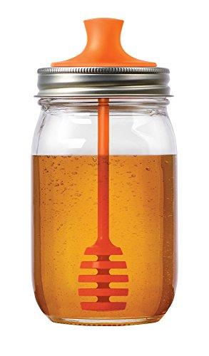 Jarware Honey Dipper Lid for Regular Mouth Mason Jars, Orange