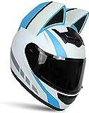 大人のオートバイフルフェイスパーソナリティ猫の耳ヘルメットストリートクールガールスクーターヘルメットモトクロススポーツモトヘルメット、男性女性用アーバンモペットヘルメット-DOT認定(54-62cm)