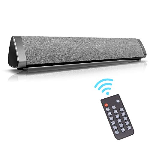 Wired & Wireless Soundbars for TV/PC, Outdoor/Indoor Bluetooth Stereo Speaker with Remote Control, Home Theater Sound bar with Built-in Subwoofers for Phones/Tablets (Grey)