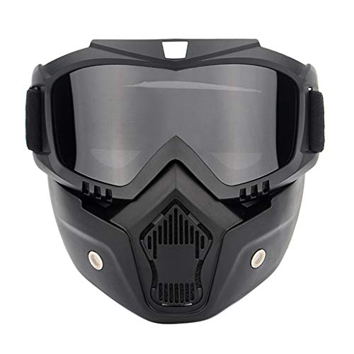 general3 Tactical Airsoft Mask, Adjustable Anti-Slip Face Mask and Goggles Set for Motorcycle,Riding,Hunting, Shooting (Black)