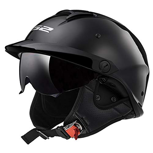 LS2 Helmets Rebellion Motorcycle Half Helmet (Matte Black - Medium)