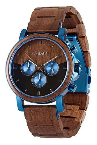 LAiMER Holzuhr - Armbanduhr IVO aus Massivholz - analoger Herren Quarz-Chronograph mit Leuchtzeiger & 24h-Anzeige - Ø 43mm - Zero Waste Verpackung aus Naturholz